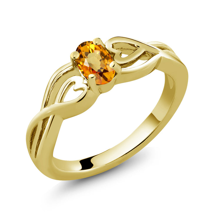 0.55 Ct Oval Yellow Sapphire 18K Yellow Gold Plated Silver Ring (Available 5,6,7,8,9)
