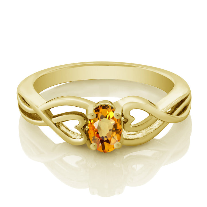 0.55 Ct Oval Yellow Sapphire 18K Yellow Gold Plated Silver Ring