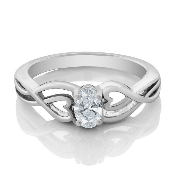 925 Sterling Silver Solitaire Ring Set with Oval White Zirconia from Swarovski