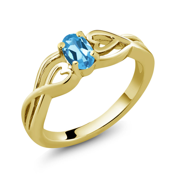 Gem Stone King 0.50 Ct Oval Swiss Blue Topaz 18K Yellow Gold Plated Silver Ring (Available 5,6,7,8,9)