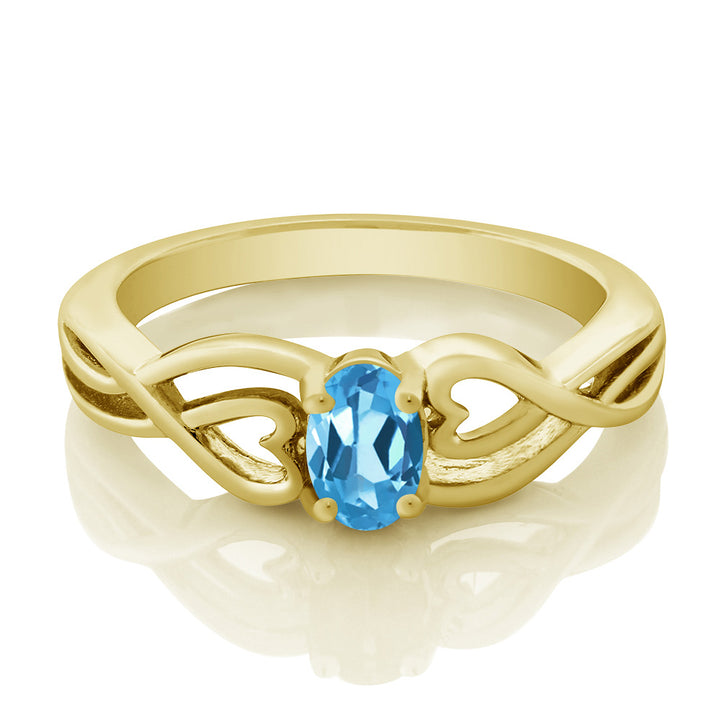 0.50 Ct Oval Swiss Blue Topaz 18K Yellow Gold Plated Silver Ring