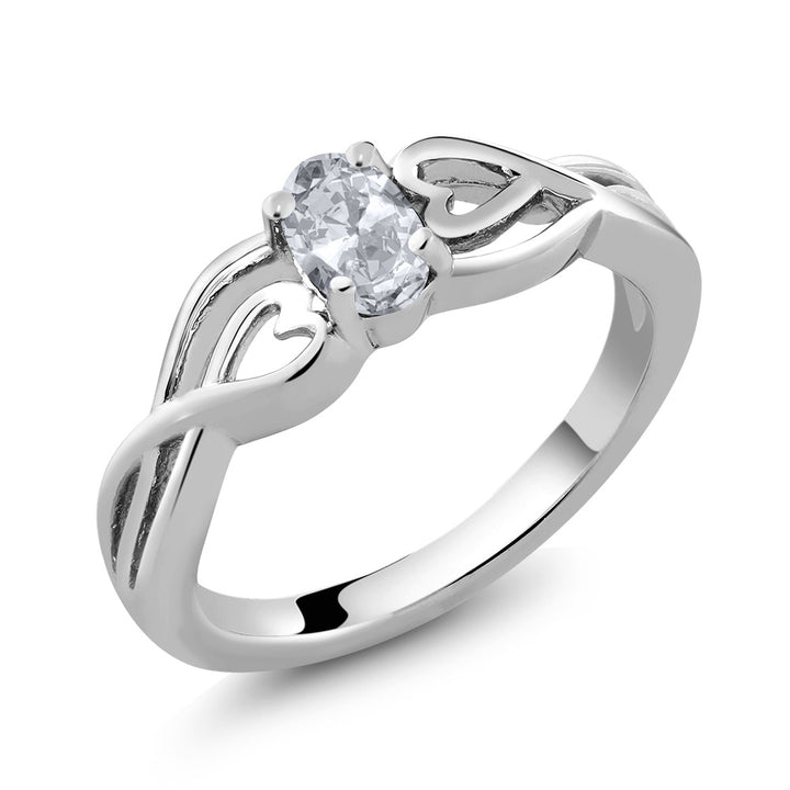 0.50 Ct Oval White Topaz 925 Sterling Silver Ring (Available 5,6,7,8,9)