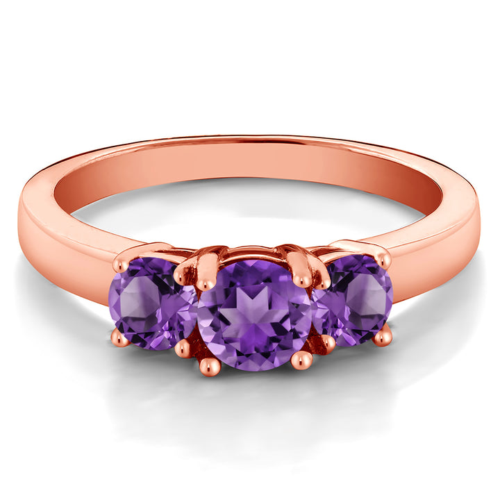 18K Rose Gold Plated Silver 0.98 Ct Round Purple Amethyst 3-Stone Ring