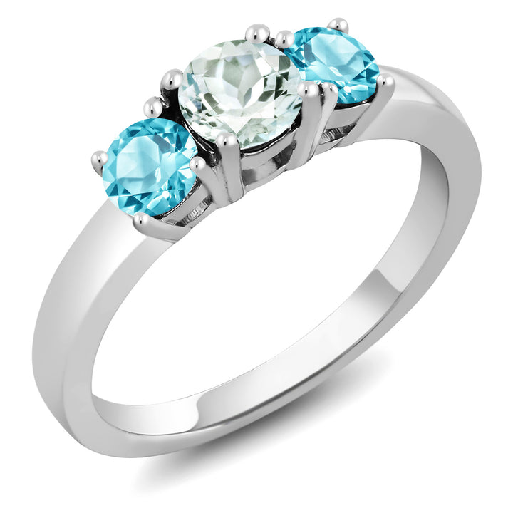 Gem Stone King 1.06 Ct Round Sky Blue Aquamarine Swiss Blue Topaz 925 Sterling Silver Ring
