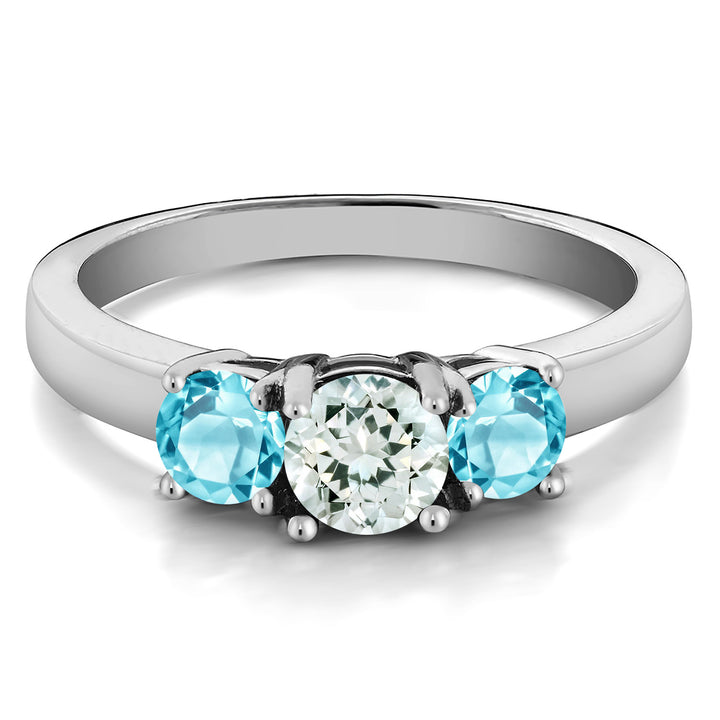 1.21 Ct Round Sky Blue Aquamarine Swiss Blue Topaz 925 Sterling Silver Ring