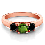 1.04 Ct Green Chrome Diopside Black Diamond 18K Rose Gold Plated Silver Ring