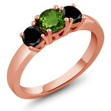 Gem Stone King 1.04 Ct Green Chrome Diopside Black Diamond 18K Rose Gold Plated Silver Ring