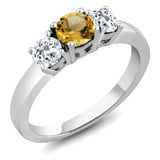 Gem Stone King 1.39 Ct Round Yellow Citrine White Topaz 925 Sterling Silver Ring