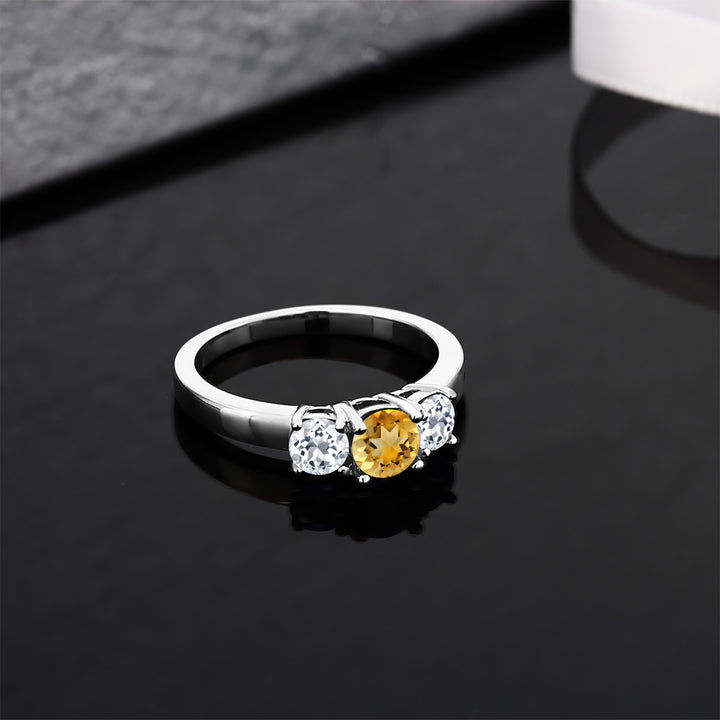 1.39 Ct Round Yellow Citrine White Topaz 925 Sterling Silver Ring