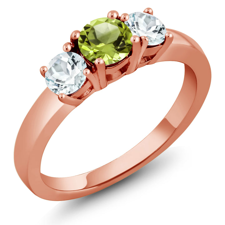 Gem Stone King 1.05 Ct Round Green Peridot Sky Blue Aquamarine 18K Rose Gold Plated Silver Ring