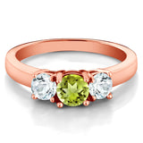 1.05 Ct Round Green Peridot Sky Blue Aquamarine 18K Rose Gold Plated Silver Ring