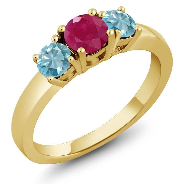 Gem Stone King 1.55 Ct Round Red Ruby Blue Zircon 18K Yellow Gold Plated Silver Ring