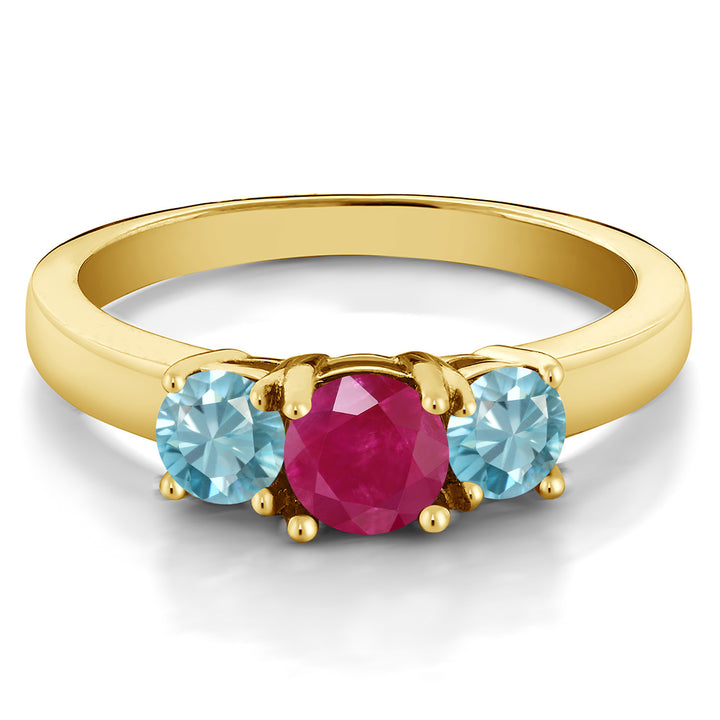 1.55 Ct Round Red Ruby Blue Zircon 18K Yellow Gold Plated Silver Ring