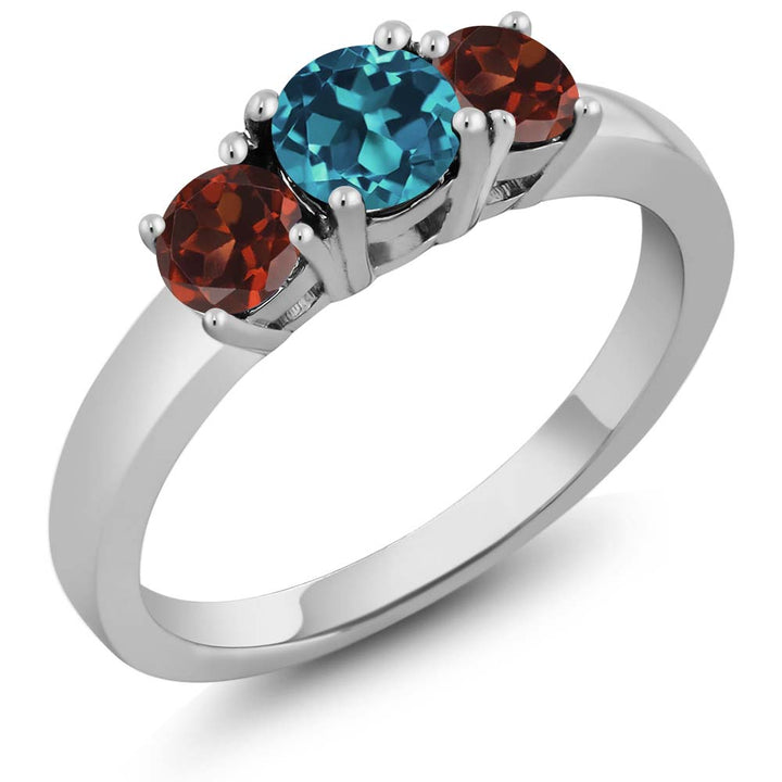 Gem Stone King 1.24 Ct Round London Blue Topaz Red Garnet 925 Sterling Silver Ring