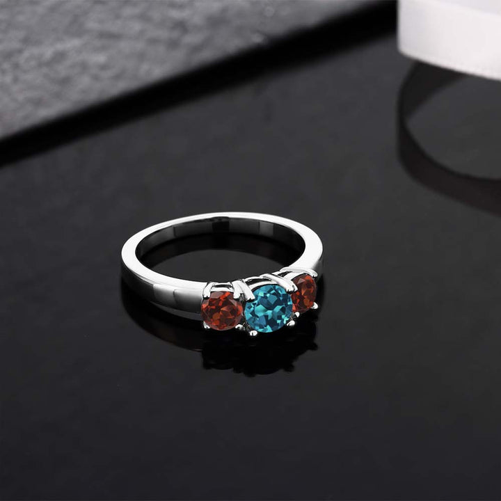 1.24 Ct Round London Blue Topaz Red Garnet 925 Sterling Silver Ring