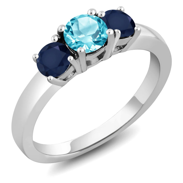 Gem Stone King 1.22 Ct Round Swiss Blue Topaz Blue Sapphire 925 Sterling Silver Ring