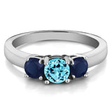 1.35 Ct Round Swiss Blue Topaz Blue Sapphire 925 Sterling Silver Ring