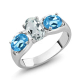 Gem Stone King 1.72 Ct Oval Sky Blue Aquamarine Swiss Blue Topaz 925 Sterling Silver Ring
