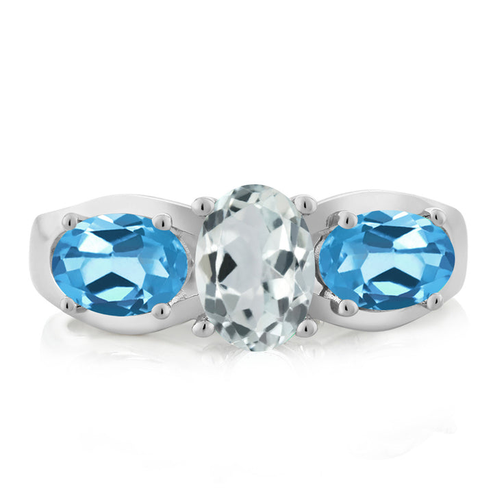 1.72 Ct Oval Sky Blue Aquamarine Swiss Blue Topaz 925 Sterling Silver Ring