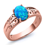 Gem Stone King 1.05 Ct Oval Cabochon Blue Simulated Opal 18K Rose Gold Plated Silver Ring