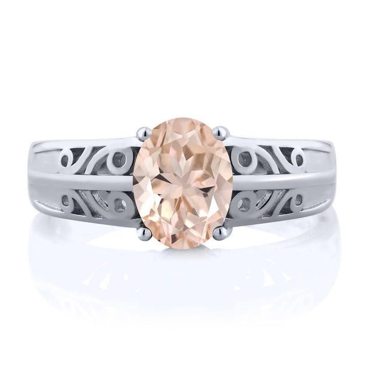 1.00 Ct Oval Peach Morganite 925 Sterling Silver Ring