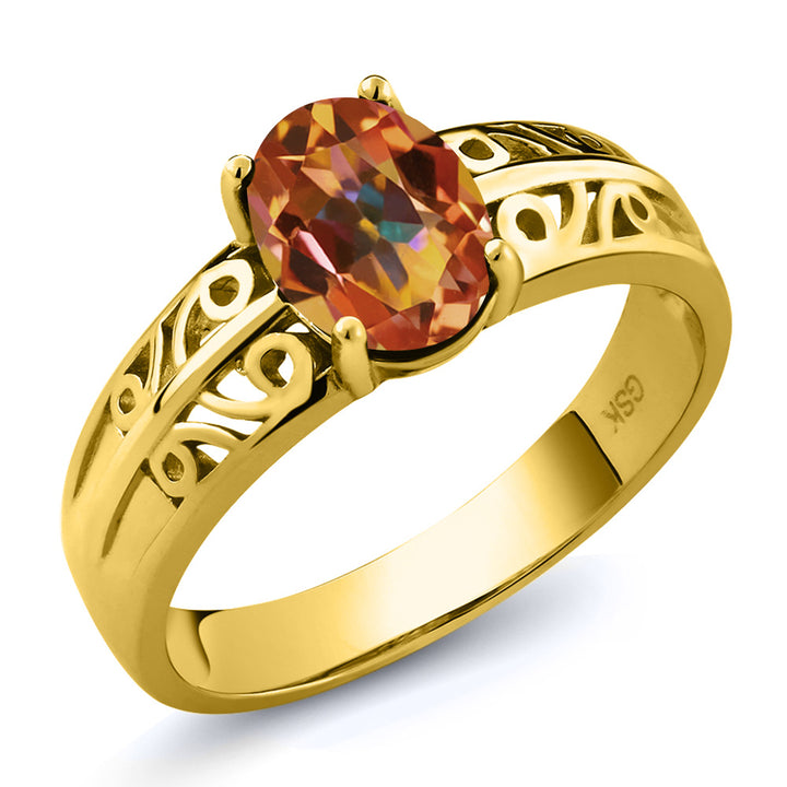Gem Stone King 1.30 Ct Oval Ecstasy Mystic Topaz 18K Yellow Gold Plated Silver Ring