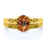 1.30 Ct Oval Ecstasy Mystic Topaz 18K Yellow Gold Plated Silver Ring