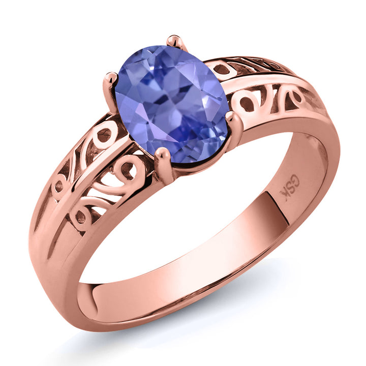 Gem Stone King 1.16 Ct Oval Blue Tanzanite 18K Rose Gold Plated Silver Ring
