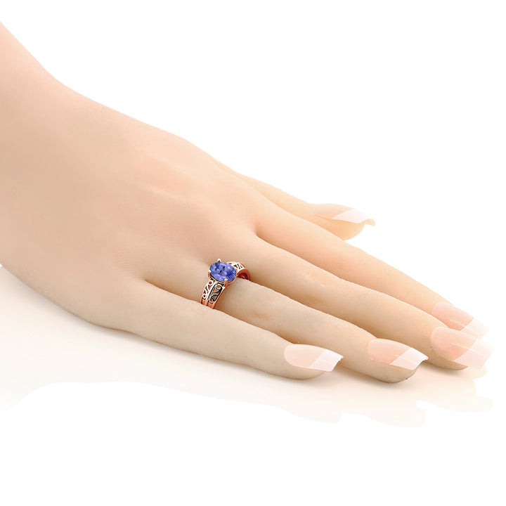 1.16 Ct Oval Blue Tanzanite 18K Rose Gold Plated Silver Ring