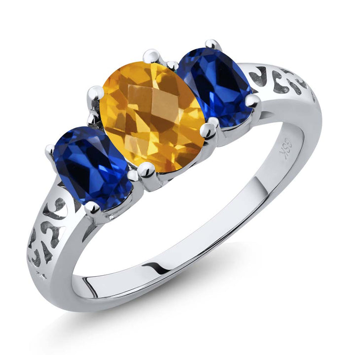 Gem Stone King 2.25 Ct Oval Checkerboard Yellow Citrine Blue Simulated Sapphire 925 Sterling Silver 3-Stone Ring