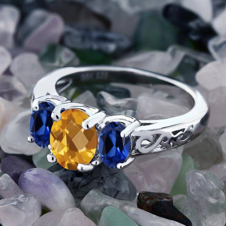 2.25 Ct Oval Checkerboard Yellow Citrine Blue Simulated Sapphire 925 Silver Ring