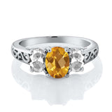 2.25 Ct Oval Checkerboard Yellow Citrine White Topaz 925 Sterling Silver Ring