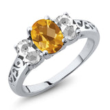 Gem Stone King 2.25 Ct Oval Checkerboard Yellow Citrine White Topaz 925 Sterling Silver 3 Stone Ring