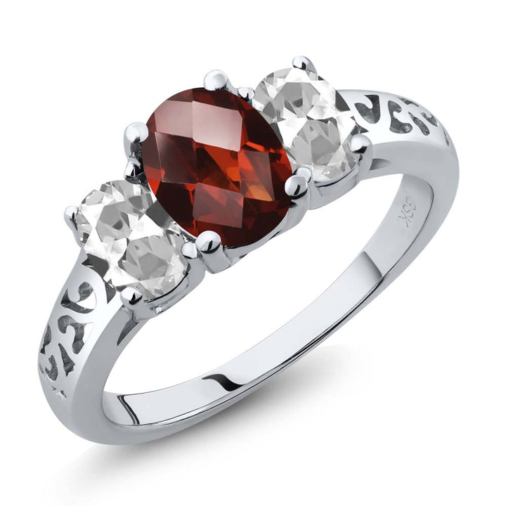 Gem Stone King 2.40 Ct Oval Checkerboard Red Garnet White Topaz 925 Sterling Silver 3 Stone Ring