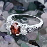 2.40 Ct Oval Checkerboard Red Garnet White Topaz 925 Sterling Silver Ring