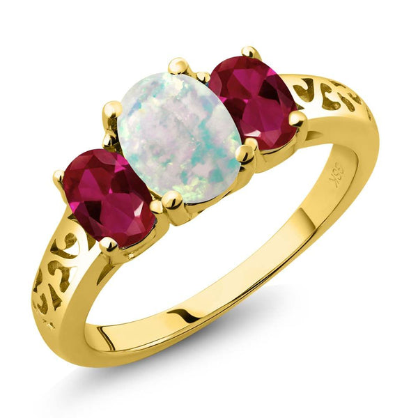 Gem Stone King 2.05 Ct Oval Simulated Opal and Created Ruby 18K Yellow Gold Plated Silver 3 Stone Ring