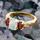 2.05 Ct Oval White Simulated Opal Red Garnet 18K Yellow Gold Plated Silver Ring