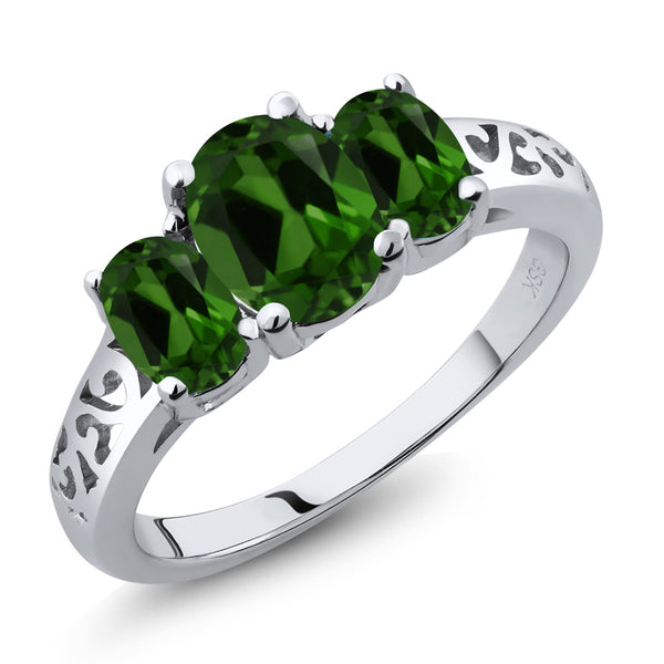 Gem Stone King 2.10 Ct Oval Green Chrome Diopside 925 Sterling Silver 3 Stone Ring
