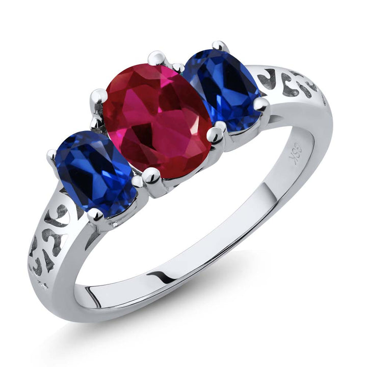 Gem Stone King 2.15 Ct Oval Red Created Ruby Blue Simulated Sapphire 925 Sterling Silver 3 Stone Ring