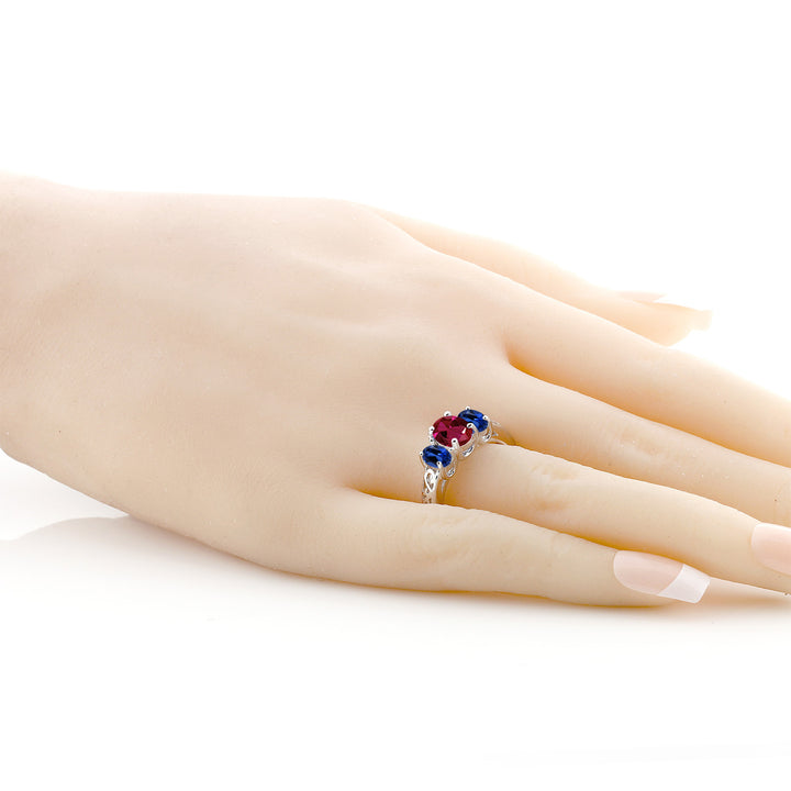 2.15 Ct Oval Red Created Ruby Blue Simulated Sapphire 925 Sterling Silver Ring