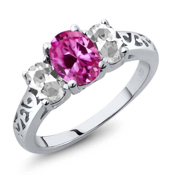 Gem Stone King 2.65 Ct Oval Pink Created Sapphire White Topaz 925 Sterling Silver 3 Stone Ring