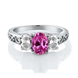 2.65 Ct Oval Pink Created Sapphire White Topaz 925 Sterling Silver Ring