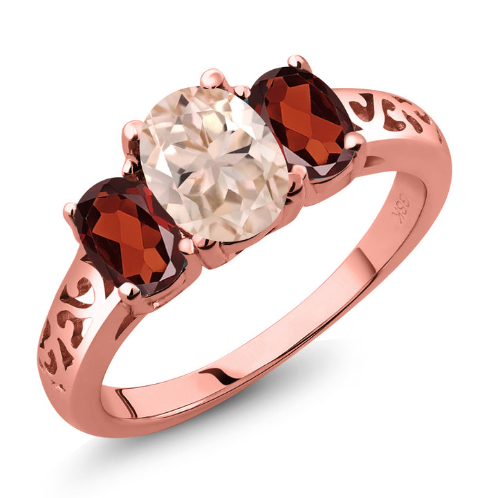 Gem Stone King 2.00 Ct Oval Peach Morganite Red Garnet 18K Rose Gold Plated Silver 3 Stone Ring