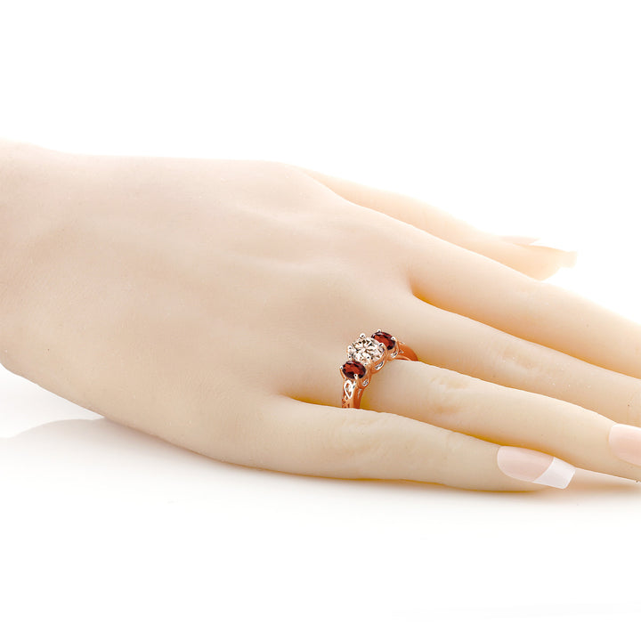 2.00 Ct Oval Peach Morganite Red Garnet 18K Rose Gold Plated Silver Ring