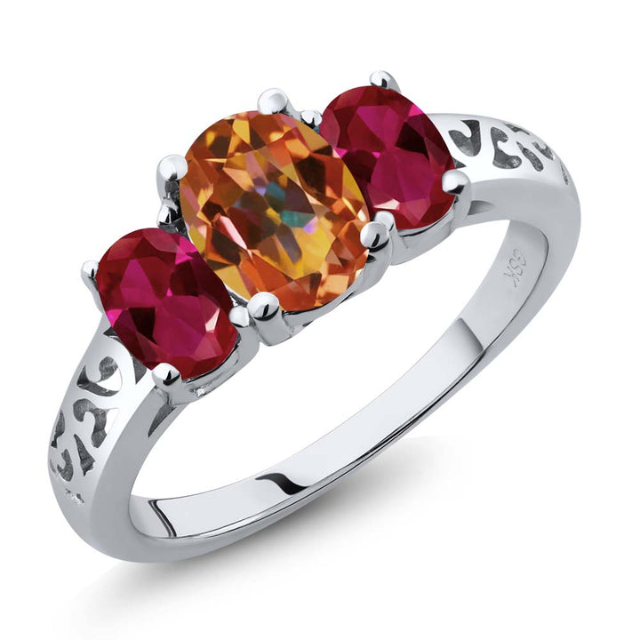 Gem Stone King 2.30 Ct Oval Ecstasy Mystic Topaz Red Created Ruby 925 Sterling Silver 3 Stone Ring