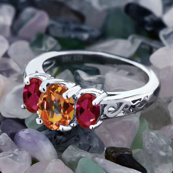 2.30 Ct Oval Ecstasy Mystic Topaz Red Created Ruby 925 Sterling Silver Ring