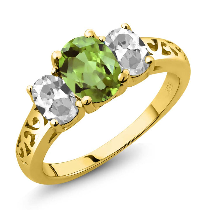 Gem Stone King 2.33 Ct Oval Green Peridot White Topaz 18K Yellow Gold Plated Silver 3 Stone Ring