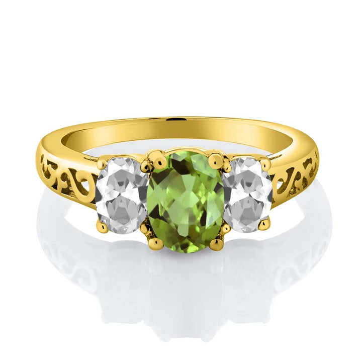 2.33 Ct Oval Green Peridot White Topaz 18K Yellow Gold Plated Silver Ring