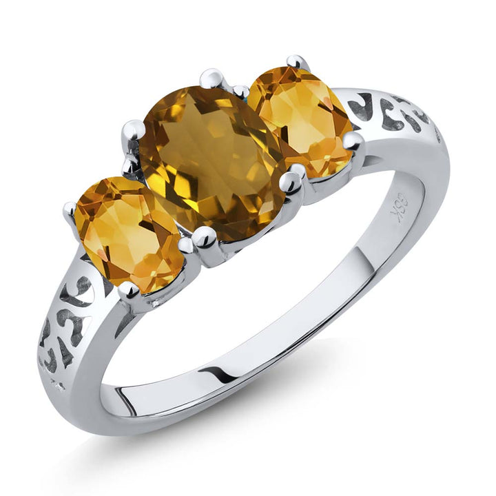 Gem Stone King 1.80 Ct Oval Whiskey Quartz Yellow Citrine 925 Sterling Silver 3 Stone Ring