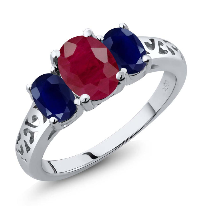 Gem Stone King 2.70 Ct Oval Red Ruby Blue Sapphire 925 Sterling Silver 3 Stone Ring